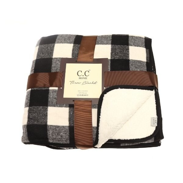 Black and Ivory Sherpa Throw