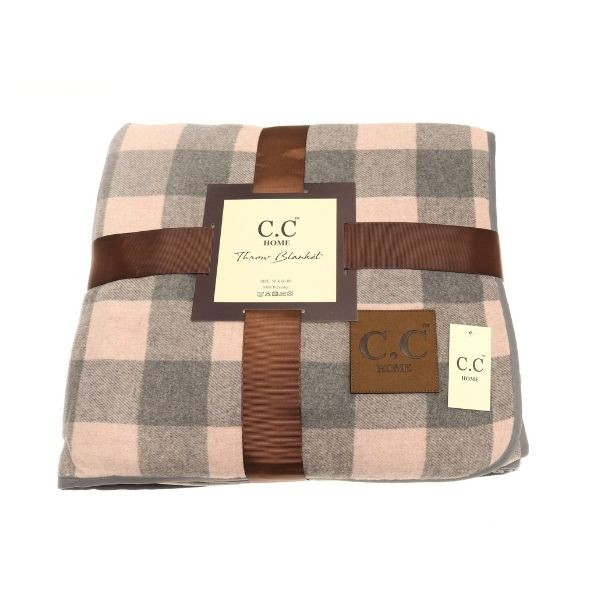 Grey and Pink Sherpa Throw