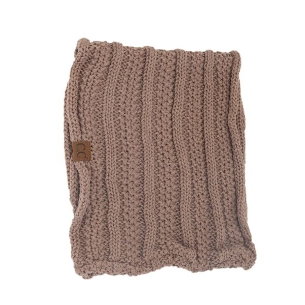 CC Beanie Taupe Ribbed Scarf